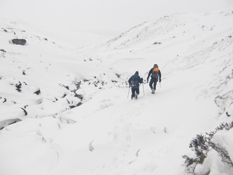 Ploughing our way out down Grindsbrook Clough. Copyright Haydn Williams 2010