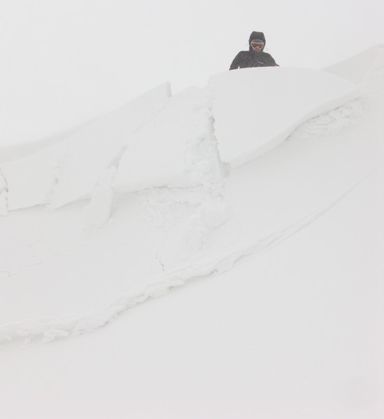 When good cornices go bad. Paul takes a ride as the whole lot collapses. Copyright Haydn Williams 2010