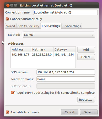 "Setting a manual IP address in ""Network Connections"""