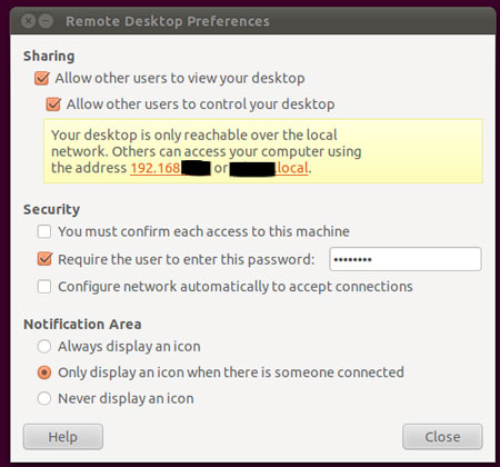 Remote Desktop settings in Ubuntu 11.04