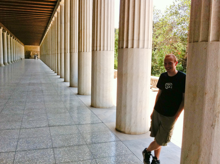 Stood in the Stoa of Attalos. Note the use of the Doric order for the exterior collonade, and the Ionic order for the interior. Apparently that's pretty cool. Copyright Haydn Williams 2011