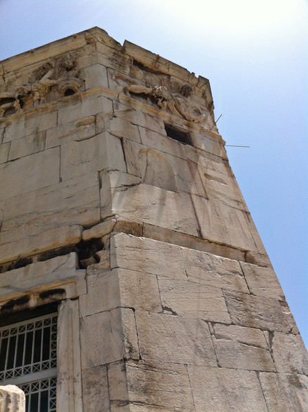 The Tower of the Winds or horologion. Note the feint diagonal lines used to tell the time. Copyright Haydn Williams 2011