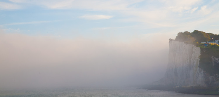 First glimpse of the white cliffs, shrouded in sea mist. Copyright Haydn Williams 2011