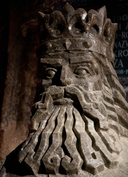 Bust of King Kazimierz, carved from the salt which the Wieliczka mines are made of.  Haydn Williams 2011