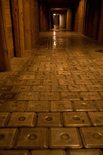 Blocks of solid salt forming the tunnel floors. © Haydn Williams 2011