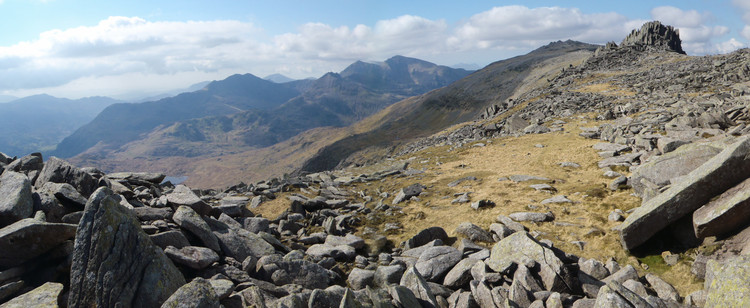 My point-and-shoot camera's mediocre attempt at doing justice to the panoramic view from the Glyders. © Haydn Williams 2012