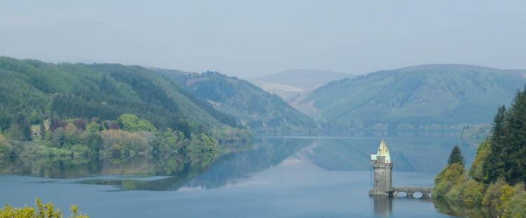 View of Llyn Vyrnwy from the hotel bar terrace. © Haydn Williams 2012
