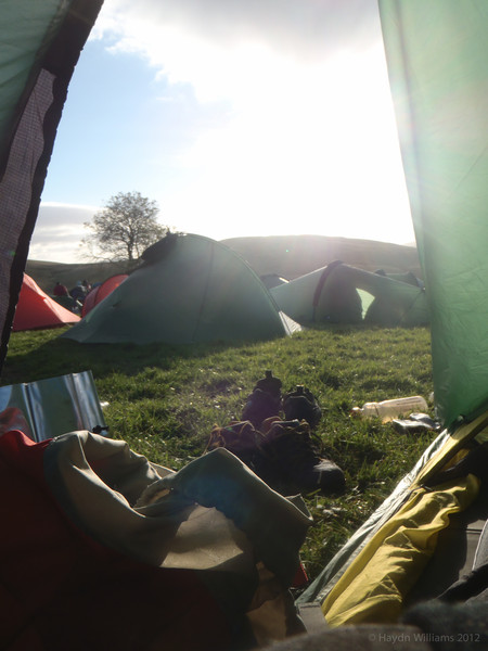 Lounging in the tent in mid-camp sunshine.  Haydn Williams 2012