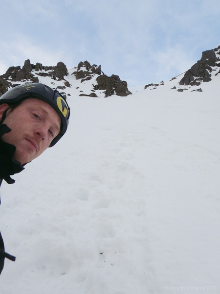 Top section of Hourglass Gully (I). Not sure why I look so grumpy.  Haydn Williams 2012