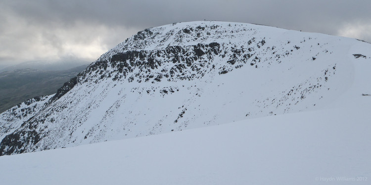 The top of Pen yr Ole Wen. I topped out somewhere on the right. Col Gully is apparently somewhere near there.  Haydn Williams 2012