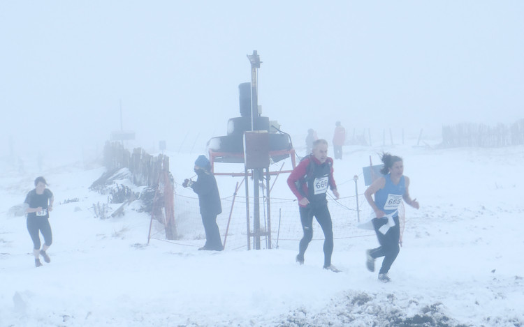 Runners at the end of the Aonach Mor Uphill. © Haydn Williams 2013