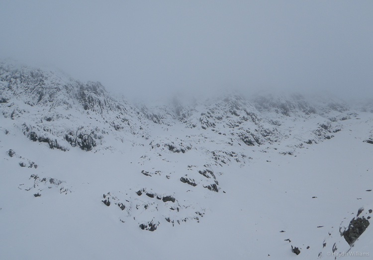 Proper Welsh Winter! Weather comes down over Trinity Face.  Haydn Williams 2013