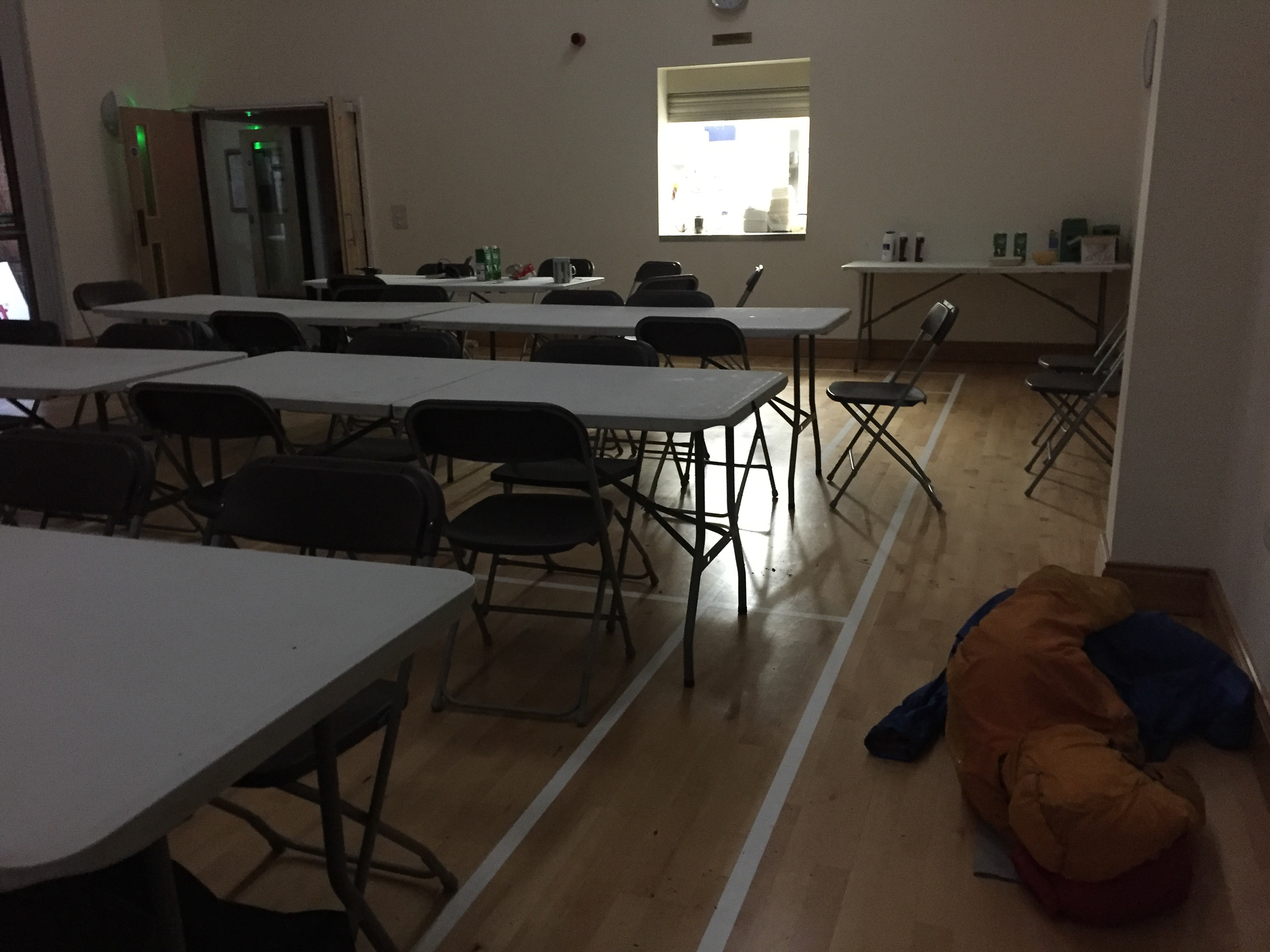 Back down nice and early. The yellow blob on the floor is John napping. © Haydn Williams 2017
