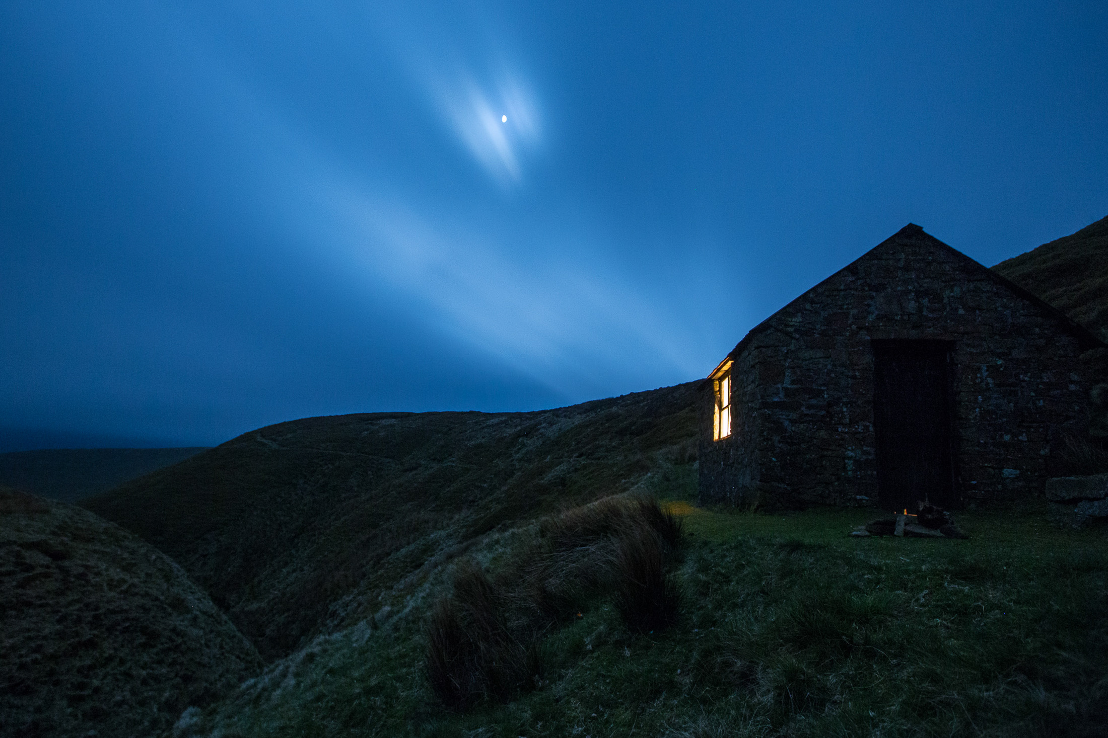 Our humble abode, as night falls. © Alex Hyde 2017