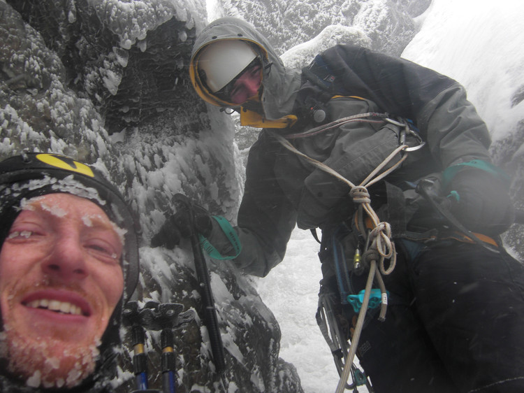Belay camaraderie is a remedy for being chilly. Copyright Haydn Williams 2010.