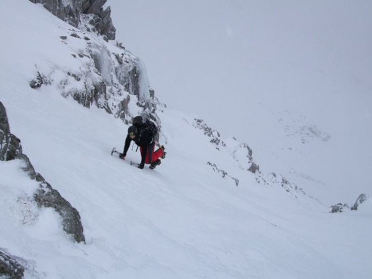 Wicked snow on Tower Slabs. Copyright James Devine 2010