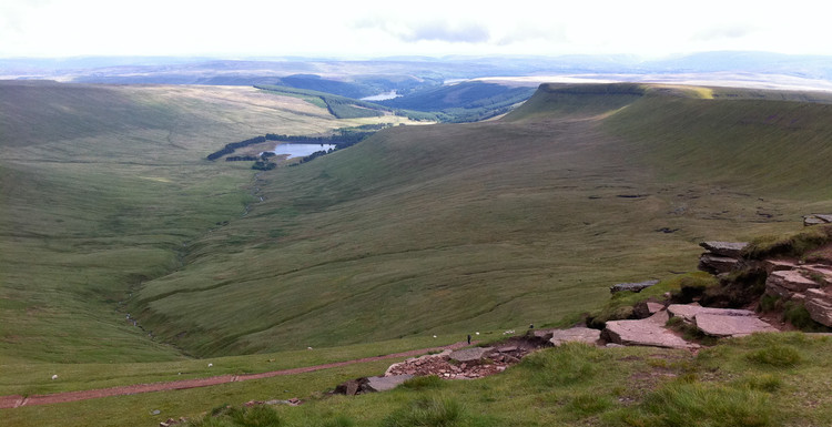 Some bits of the Brecon Beacons. I ran down the left hand-side of the shot, across the end of the lake, and back up the right. Copyright Haydn Williams 2011