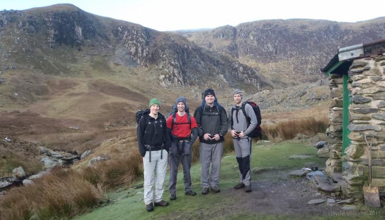 Me, Gareth, James and Jono outside the bothy. © Haydn Williams 2012