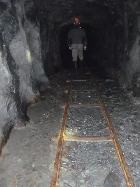 James heading into Rhiwbach slate mine. © Haydn Williams 2012