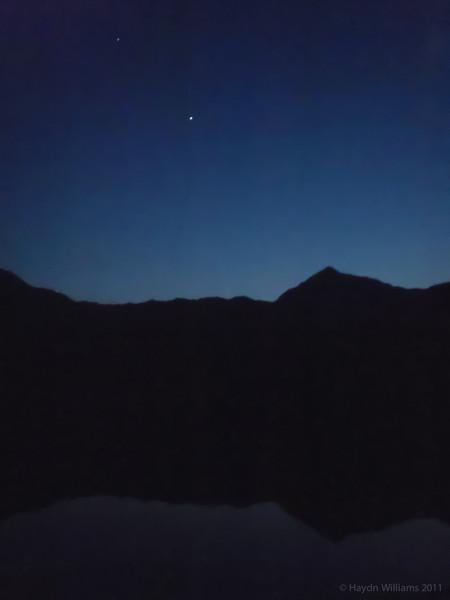 Night falls over Snowdon and Llyn Llydaw. © Haydn Williams 2012
