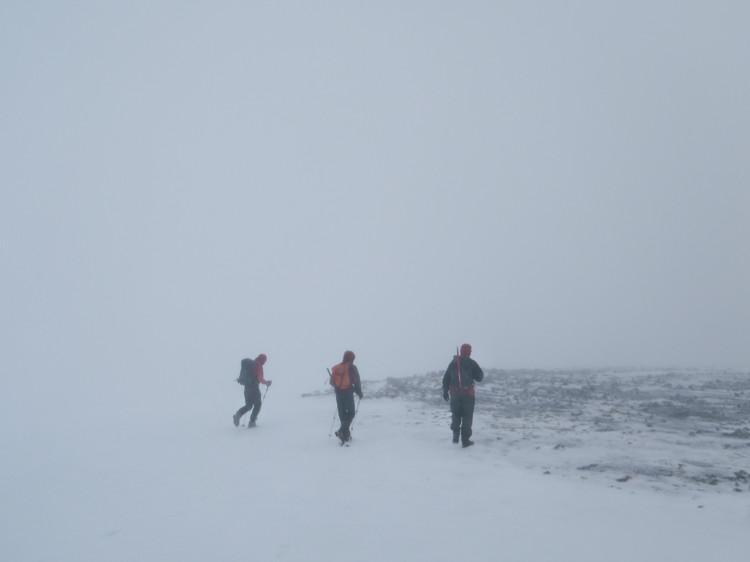 Wet and windy along the summit ridge. © Haydn Williams 2013