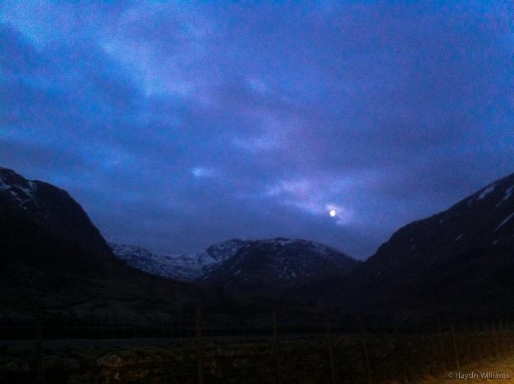 Moon over Seathwaite Fell. © Haydn Williams 2013
