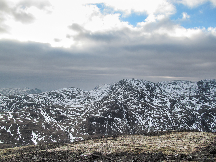 Great End and Scafell Pike from Great Gable. © Haydn Williams 2013