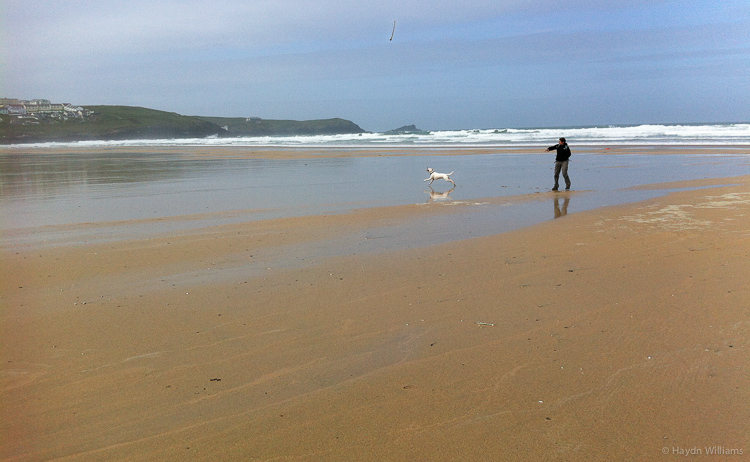 Fistral beach - plenty of space for running around. © Haydn Williams 2013
