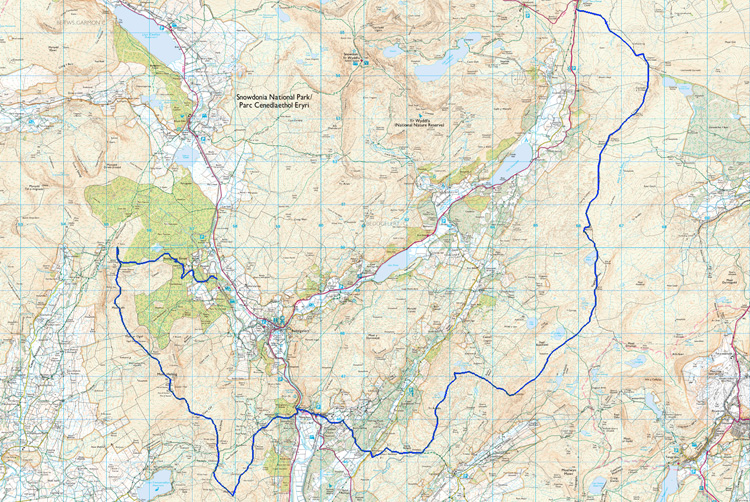 Map of the day. 21 miles, 2600m ascent, 8 hours, 6 energy gels, 1 pack jelly babies, 6 picnic eggs, not enough water.