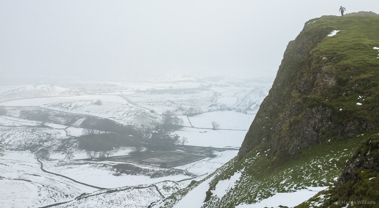 Stuart reaches the top of Chrome Hill. © Haydn Williams 2014