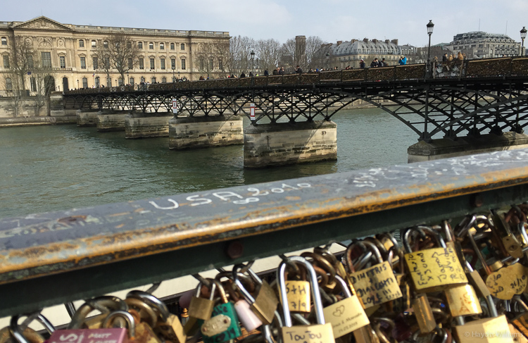 Pont des Arts. The whole thing is covered in padlocks. © Haydn Williams 2015