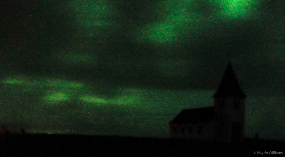 A poor shot of the northern lights above Hellnar church. © Haydn Williams 2015