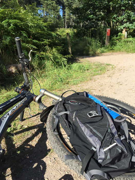 Awesome birthday present bag sat on awesome mountain bike. ©Haydn Williams 2016