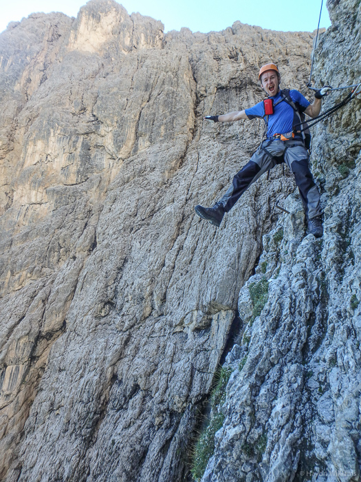 Alex slowly settling in to his first via ferrata (Brigata Tridentina, Sella Massif). © Haydn Williams 2016