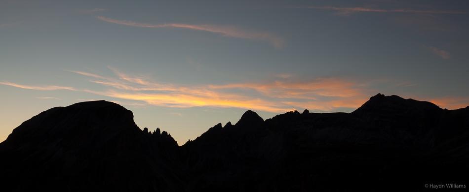 Sunset from Altapiano de Crespeina. ©Haydn Williams 2016