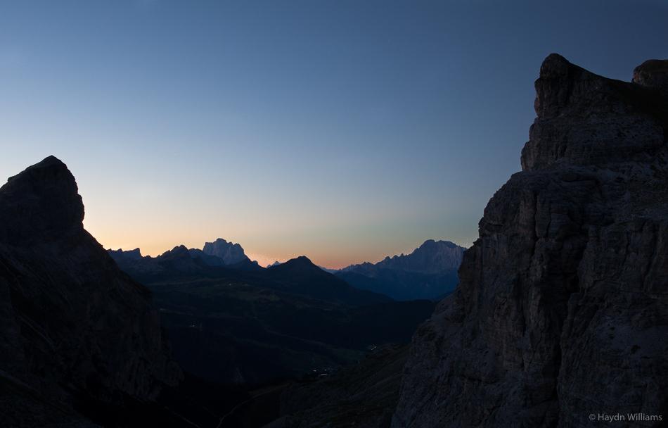 Sunrise from Forcella de Ciampei Somafurcia. ©Haydn Williams 2016