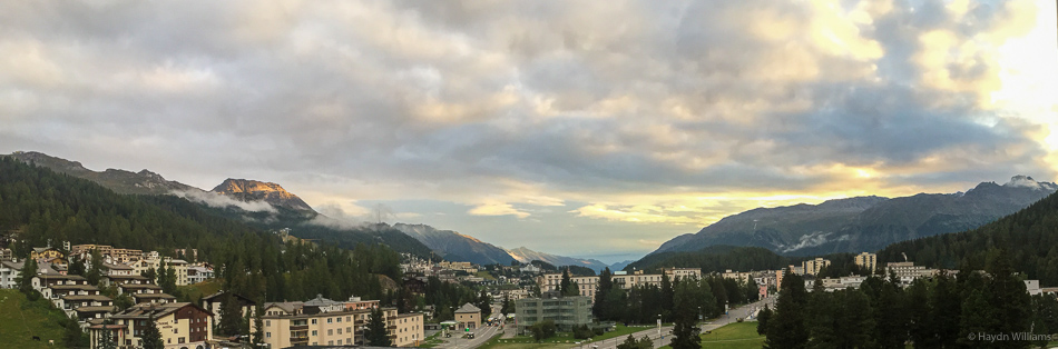 St. Moritz panorama (hanging out of hotel window!). © Haydn Williams 2016