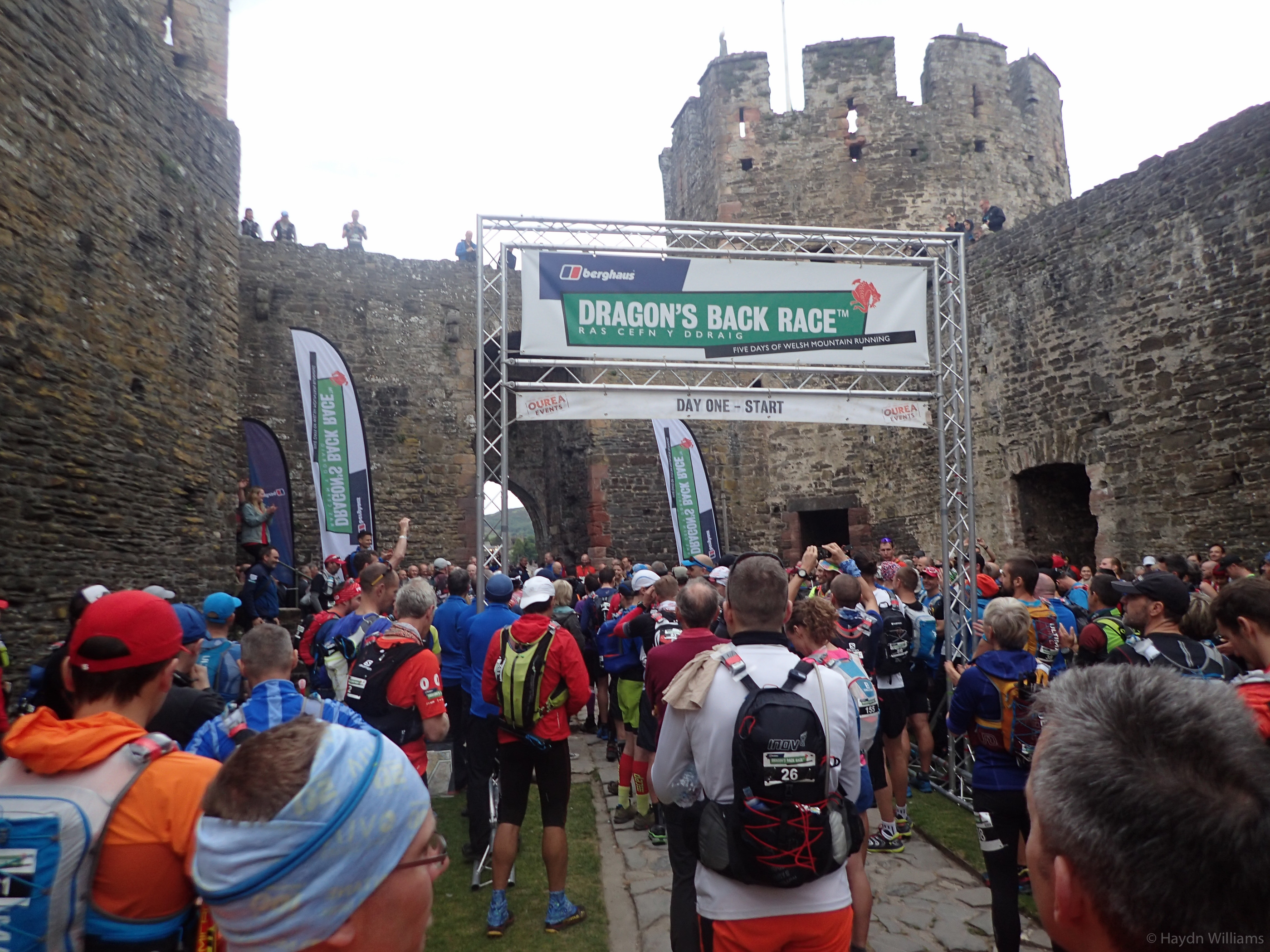 Day 1 - The start line in Conwy castle. © Haydn Williams 2017