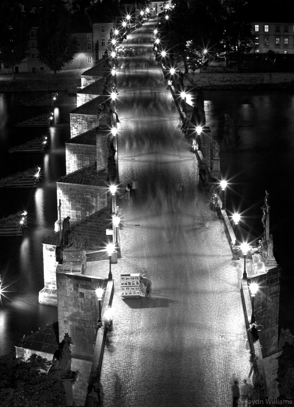 Charles Bridge by night. The bridge was actually rammed full of people; the 30 second exposure blurred their movement. © Haydn Williams 2006