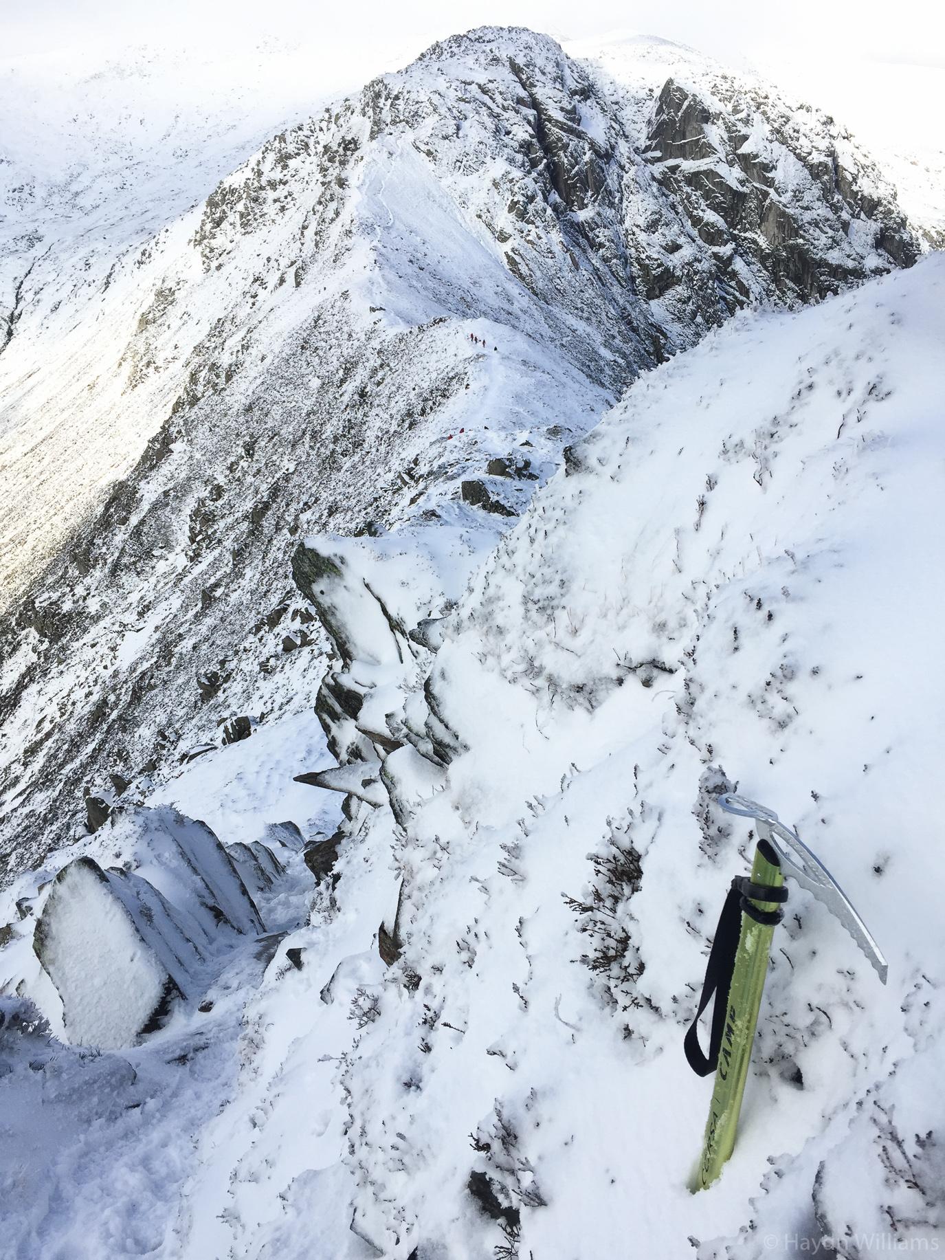 The route ahead - Bwlch yr Eryl Farchog in winter garb. © Haydn Williams