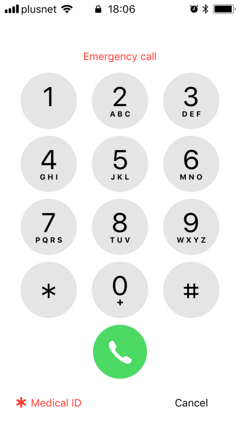Emergency call screen on a locked iPhone.