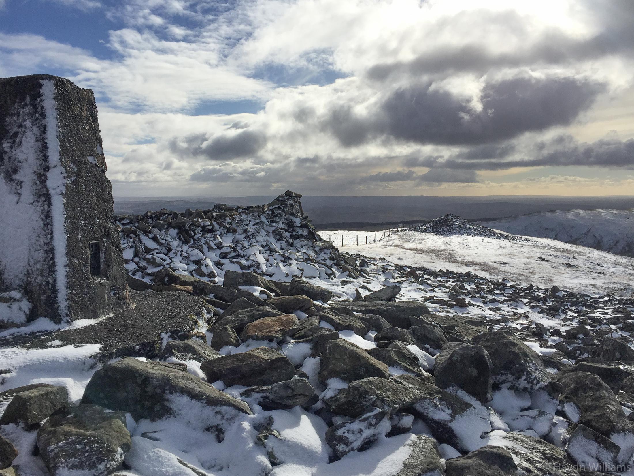 Snowy summit of Plynlimon. ©Haydn Williams 2018