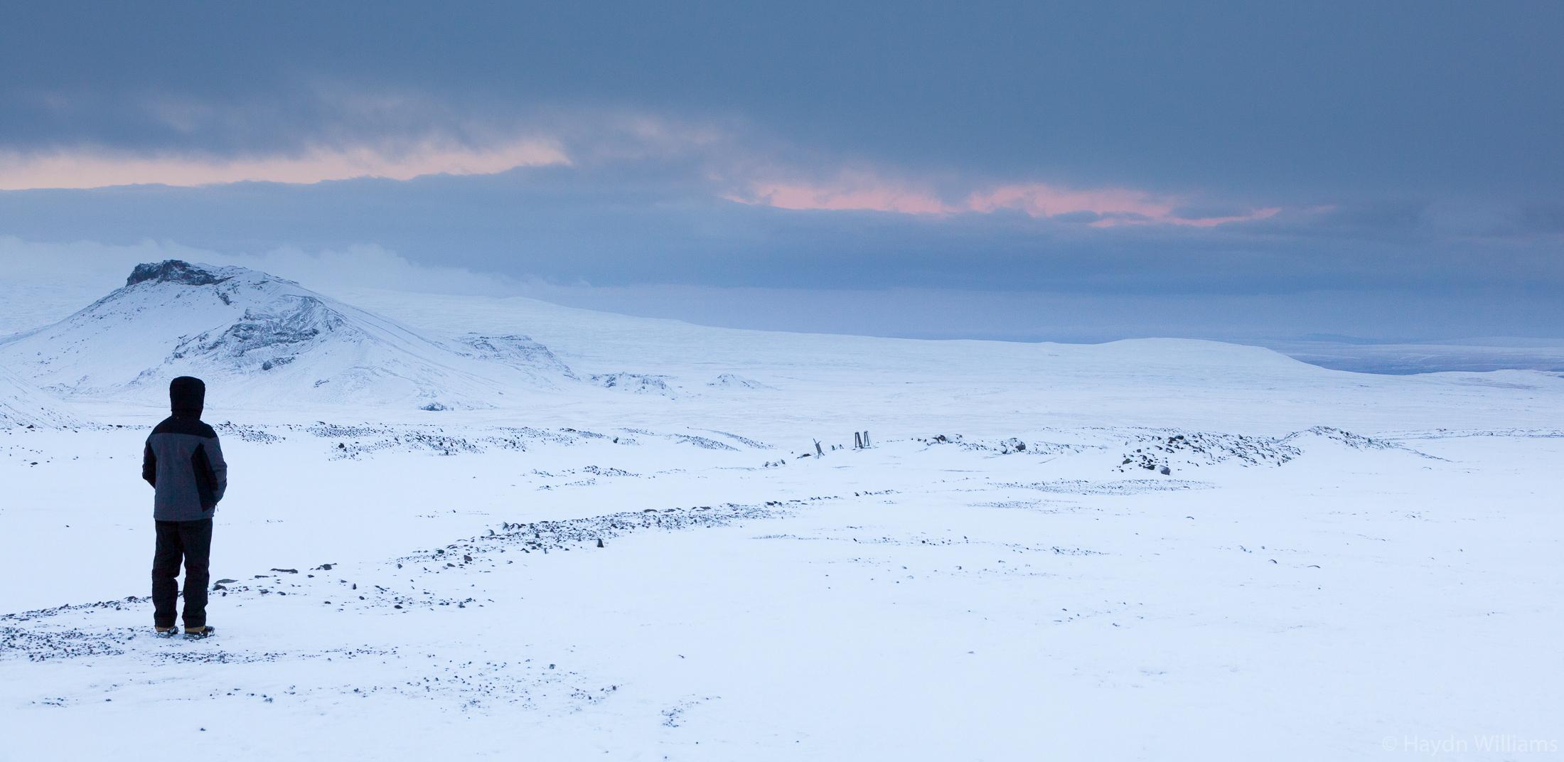 View from Klaki base camp below the Langjökull glacier. © Haydn Williams 2019